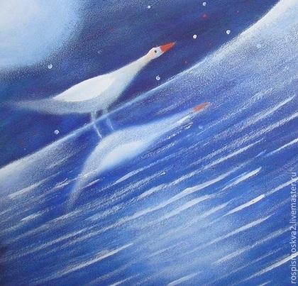 Пейзаж ручной работы. Ярмарка Мастеров - ручная работа Картина Птица на  берегу    утро   пейзаж  акрил отражение. Handmade.