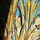 Картина осень маслом на холсте Большая картина купить Оранжевый желтый зеленый белый голубой Яркая картина для интерьера Деревья осень картина Картина маслом на холсте осень