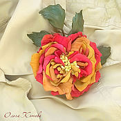 Украшения handmade. Livemaster - original item Brooch leather rose on a Sunny day Brooch-clip. The colors of the skin. roses. Handmade.
