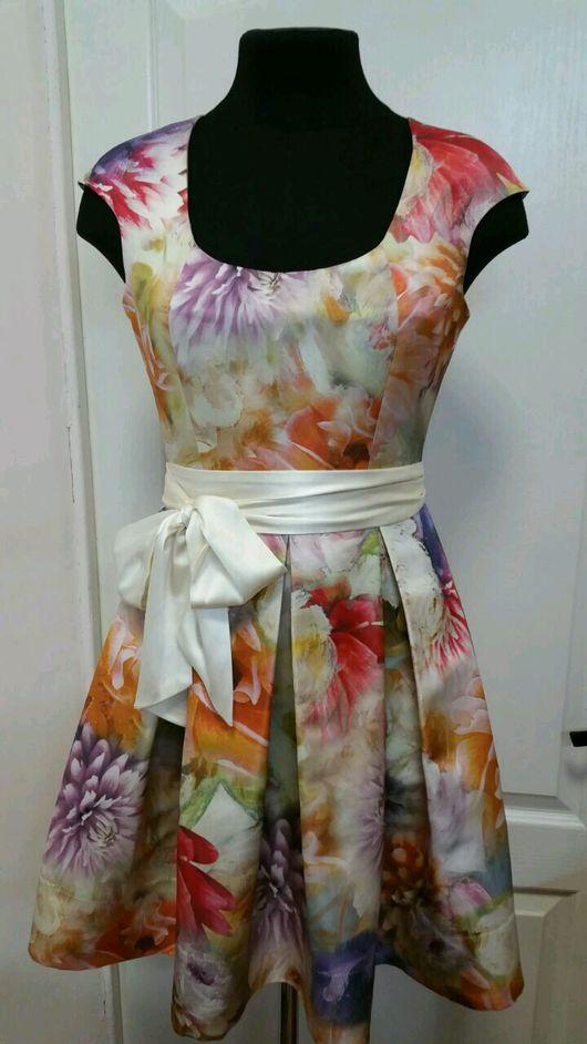 """Платья ручной работы. Ярмарка Мастеров - ручная работа. Купить платье из шелка """"Цветы"""". Handmade. Комбинированный, женское платье"""