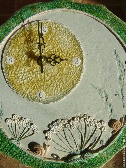 Часы для дома ручной работы. Ярмарка Мастеров - ручная работа. Купить Часы Летние травы Керамика. Handmade. Часы настенные