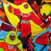 Картины и панно ручной работы. Ярмарка Мастеров - ручная работа Картина витражная этническая картина Танец. Handmade.