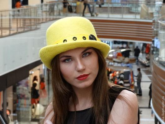 """Шляпы ручной работы. Ярмарка Мастеров - ручная работа. Купить Шляпа-котелок """"Арлекин"""". Handmade. Желтый, шляпа, коричневая шляпа"""