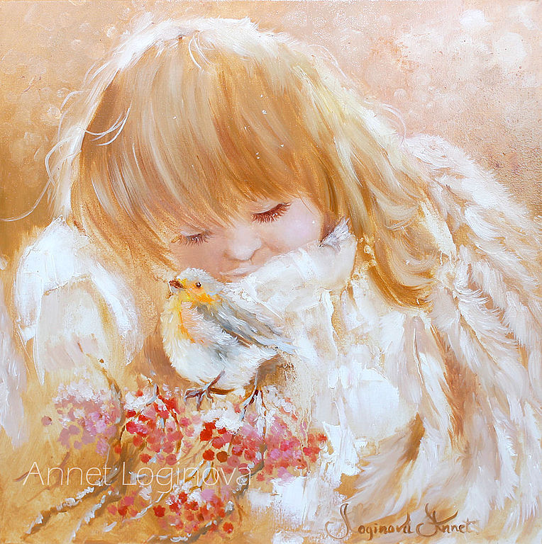 Portraits handmade. Livemaster - handmade. Buy My cute angel.Angel, winter, rowan, beige, heat