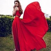 Одежда ручной работы. Ярмарка Мастеров - ручная работа красное платье лучшая реплика ланвин. Handmade.