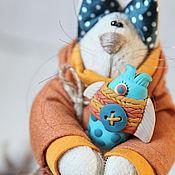 Куклы и игрушки ручной работы. Ярмарка Мастеров - ручная работа Коты. Рыжий котик с рыбкой.. Handmade.