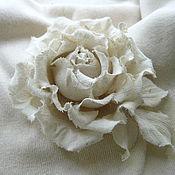 Украшения handmade. Livemaster - original item Silk flowers.Brooch pin WHITE ROSE . Wild silk.. Handmade.