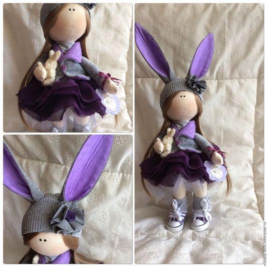 Куклы тыквоголовки ручной работы. Ярмарка Мастеров - ручная работа. Купить Интерьерная текстильная кукла большеножка Фиалка. Handmade. Фиолетовый