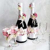 Свадебный салон ручной работы. Ярмарка Мастеров - ручная работа Комплект свадебных бокалов и шампанского. Handmade.
