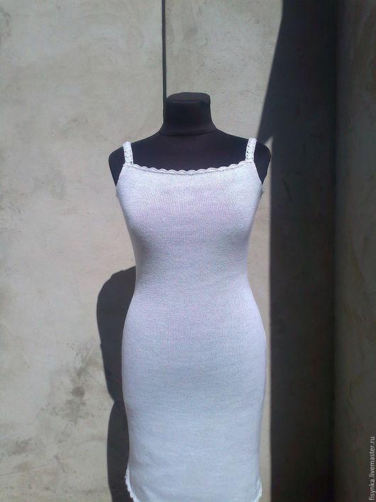 Платья ручной работы. Ярмарка Мастеров - ручная работа. Купить нижнее платье для вязанных изделий. Handmade. Белый, Машинное вязание