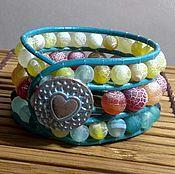 Украшения handmade. Livemaster - original item 3 Row Leather Cuff bracelet. Sea Blue bracelet. Agate bracelet. Handmade.
