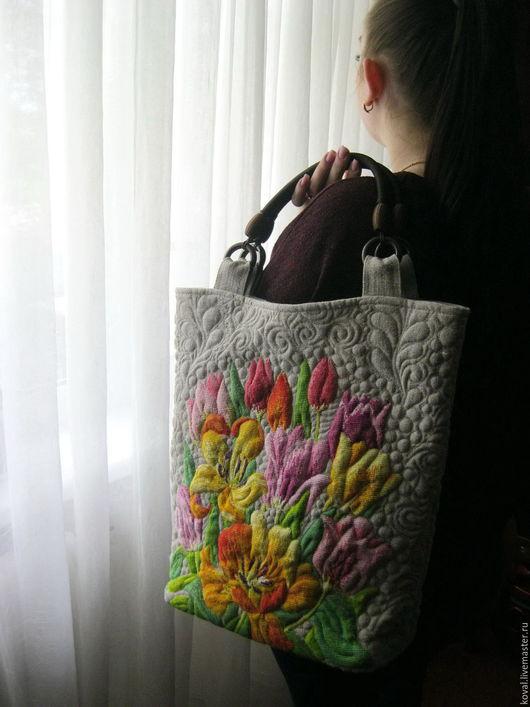 Женские сумки ручной работы. Ярмарка Мастеров - ручная работа. Купить Льняная сумка   вышитая   Цветы весны. Handmade. Комбинированный