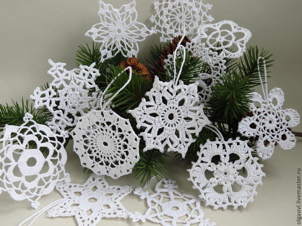 Купить Снежинка вязаная, елочное украшение, снежинки ...