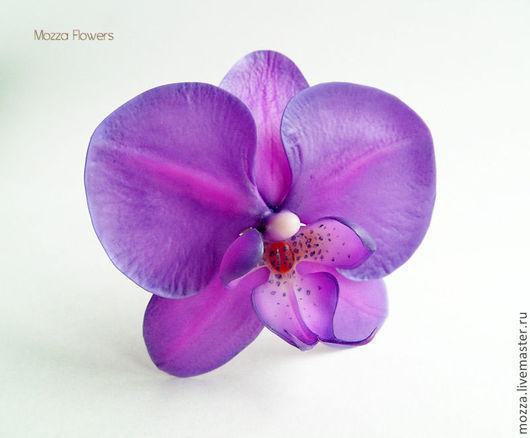"""Заколки ручной работы. Ярмарка Мастеров - ручная работа. Купить Орхидея """"Ультрафиолет"""". Полимерная глина.. Handmade. Фиолетовый, цветок в волосы"""