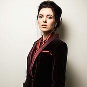 Одежда handmade. Livemaster - original item Velvet jacket with silk lapels and cuffs. Dark purple color.. Handmade.