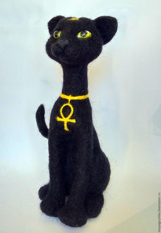 кошка из шерсти. кошка Египет. черная кошка. кошка в подарок. скульптура из шерсти. кошка сувенир кошечка. кошка из шерсти. египетская тема. египетская кошка