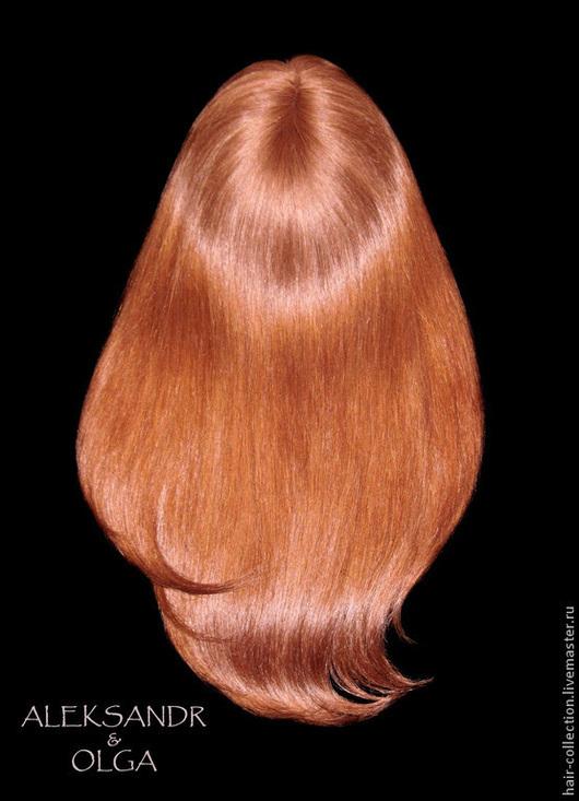 НАКЛАДКА для Волос, теменная, на сеточке - постиж, цвет медный интенсивный (из натуральных волос)