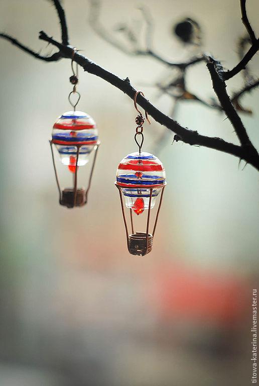 Серьги ручной работы. Ярмарка Мастеров - ручная работа. Купить серьги Аэростаты (воздушные шары). Handmade. Воздушный шар, шар