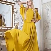 Одежда ручной работы. Ярмарка Мастеров - ручная работа Платье в пол с рукавами. Платье на выход горчичного цвета. Handmade.