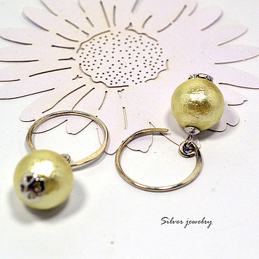 Decorations handmade. Livemaster - original item 925 sterling silver round stud earrings with pearls. Handmade.