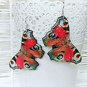 Украшения handmade. Livemaster - original item Transparent Butterfly Earrings Peacock Red Black White. Handmade.