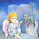 Фантазийные сюжеты ручной работы. Ярмарка Мастеров - ручная работа. Купить Ангел Кот и Вдохновение Авторский принт 15х20. Handmade.