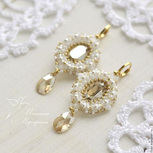 Свадебные серьги с кристаллами Сваровски (swarovski), серьги из бисера. Серьги с подвесками, серьги с жемчугом, серьги со сваровски, swarovski, серьги на свадьбу, вечерние серьги, праздничные серьги