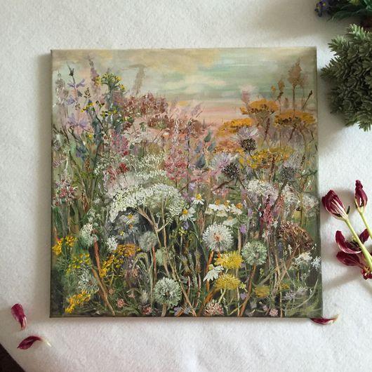 """Картины цветов ручной работы. Ярмарка Мастеров - ручная работа. Купить Картина """"Летнее разнотравье"""". Handmade. Картина в подарок, подарок"""