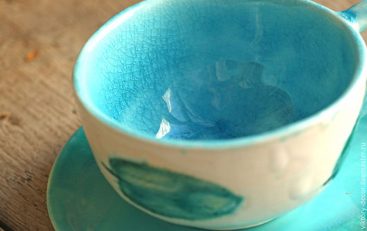 Кружки и чашки ручной работы. Ярмарка Мастеров - ручная работа. Купить Чашка Листья шалфея. Handmade. Бирюзовый, чашка для кофе