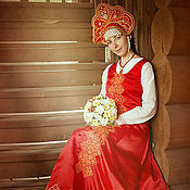 Русский стиль ручной работы. Ярмарка Мастеров - ручная работа Свадебный  сарафан. Handmade.