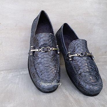 Обувь ручной работы. Ярмарка Мастеров - ручная работа Мужские мокасины из натуральной кожи питона. Handmade.