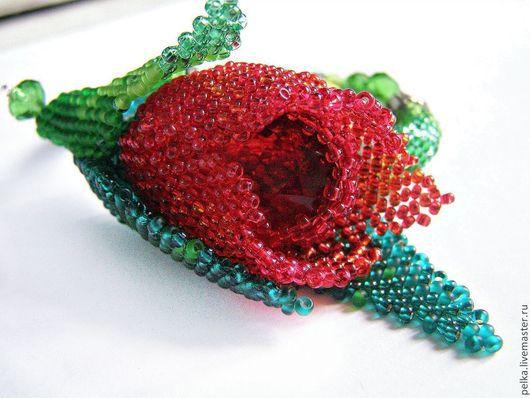 """Браслеты ручной работы. Ярмарка Мастеров - ручная работа. Купить браслет """"Аленький цветочек"""". Handmade. Зеленый, замок карабин"""