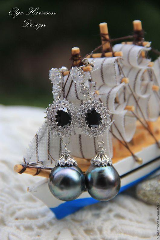 """Серьги ручной работы. Ярмарка Мастеров - ручная работа. Купить """"Сердце океана"""".Серебрянные серьги.. Handmade. Тёмно-синий"""