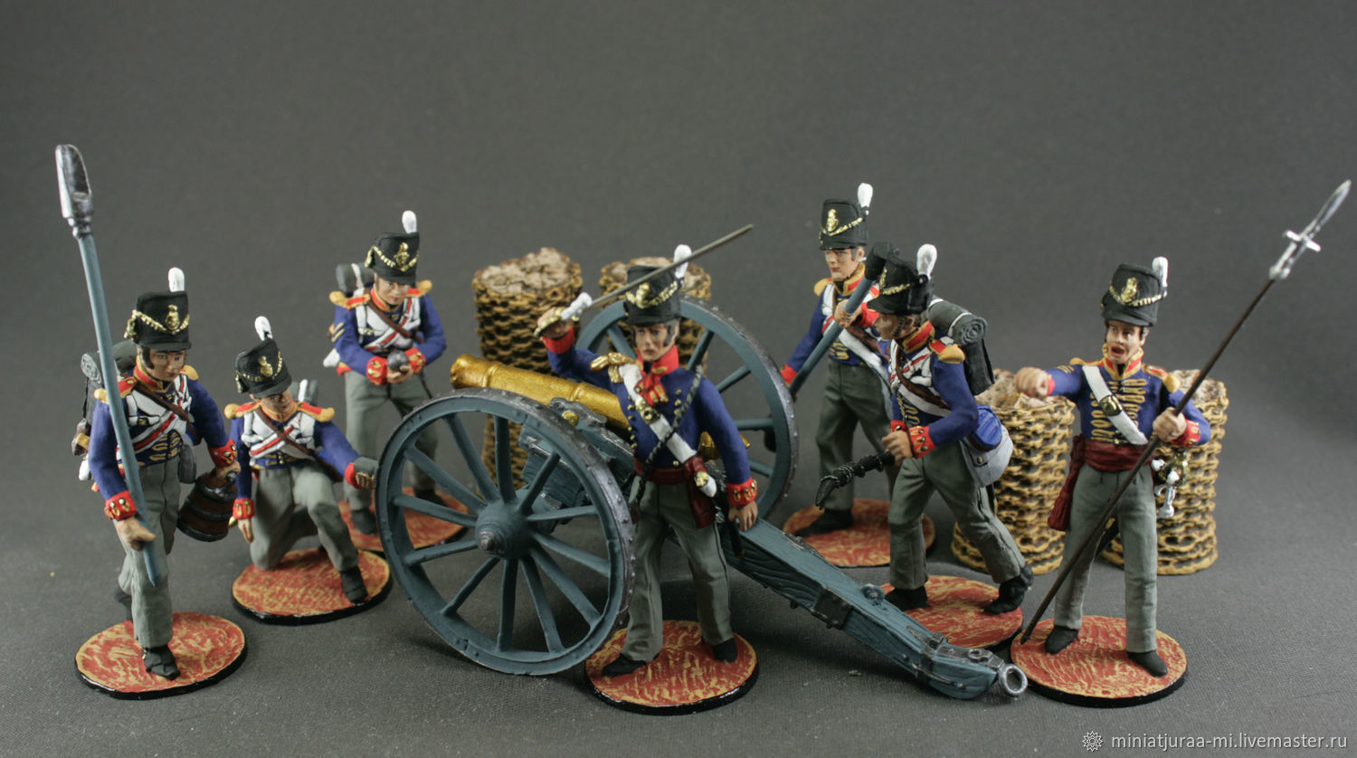 Artillery. Great Britain.Set of 8 toy soldiers. The Napoleonic wars, Military miniature, St. Petersburg,  Фото №1