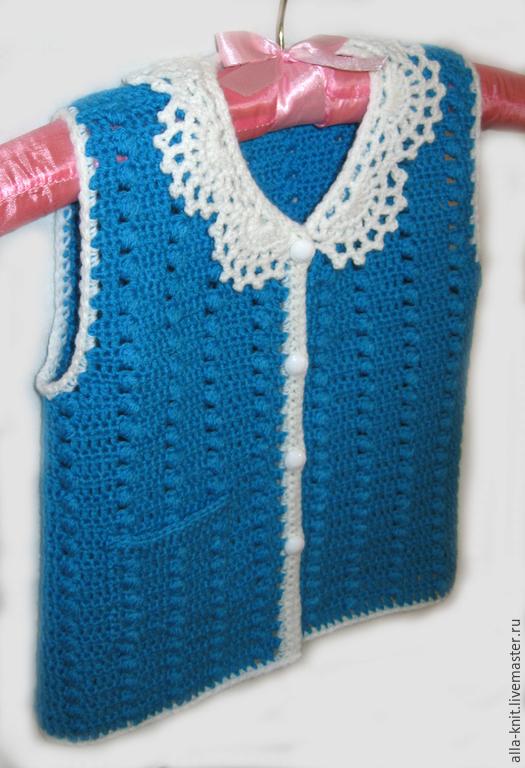 Одежда для девочек, ручной работы. Ярмарка Мастеров - ручная работа. Купить Жилет детский, Вязаный жилет для девочки, безрукавка детская. Handmade.