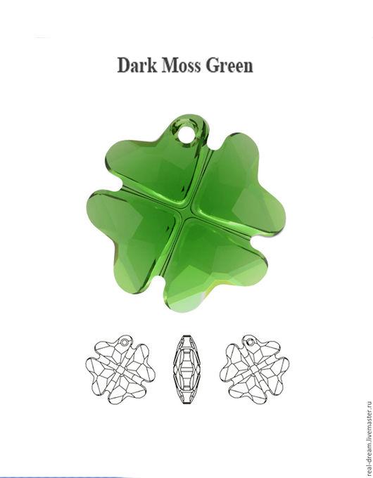 Для украшений ручной работы. Ярмарка Мастеров - ручная работа. Купить Swarovski 6764, 19 мм, Dark Moss Green и Emirald. Handmade.