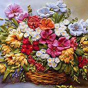 Картины и панно handmade. Livemaster - original item The picture ribbons of Autumn bouquet. Handmade.