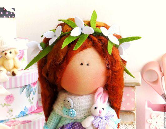Коллекционные куклы ручной работы. Ярмарка Мастеров - ручная работа. Купить Девочка с ландышами. Handmade. Текстильная кукла, сиреневый, лён
