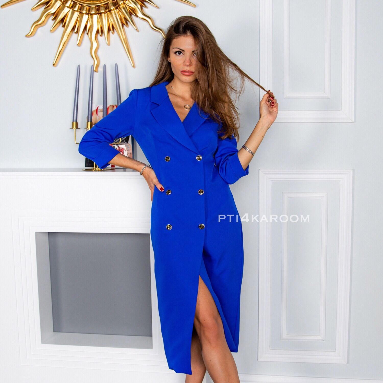 Платья ручной работы. Ярмарка Мастеров - ручная работа. Купить Синее платье -пиджак. 24fa4f489c0