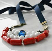 Украшения handmade. Livemaster - original item The beads on the ribbon in a marine style ASSOL. Handmade.