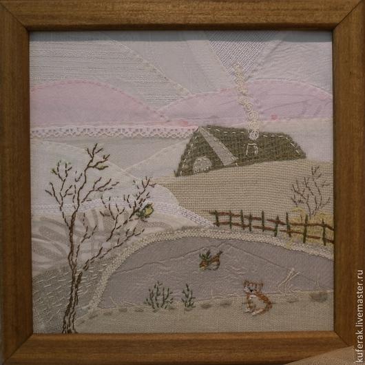 Пейзаж ручной работы. Ярмарка Мастеров - ручная работа. Купить Сельский пейзаж. Handmade. Бежевый, панно на стену, панно в подарок