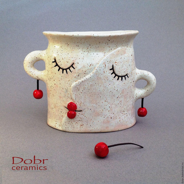 Ceramic vase cherrys, Vases, Moscow,  Фото №1