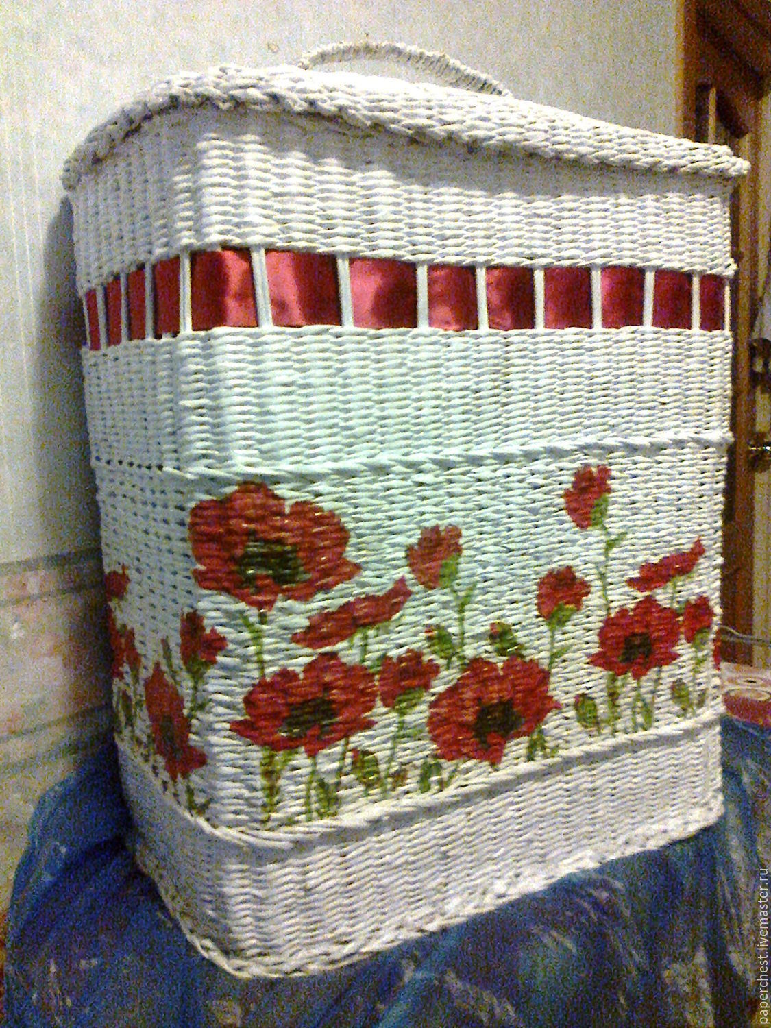 wicker basket for linen with red poppies, Bags, Moscow,  Фото №1