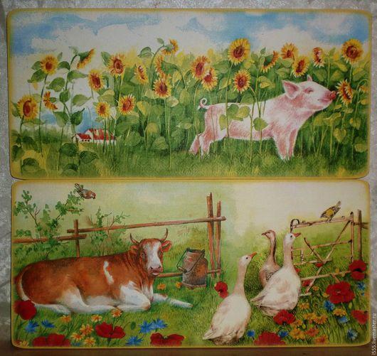 """Кухня ручной работы. Ярмарка Мастеров - ручная работа. Купить """"Корова, гуси, свинка"""" Разделочная доска панно. Handmade. Комбинированный"""