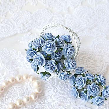 Цветы и флористика. Ярмарка Мастеров - ручная работа Бумажные розы 1,5 см Голубые Цветы для скрапбукинга. Handmade.