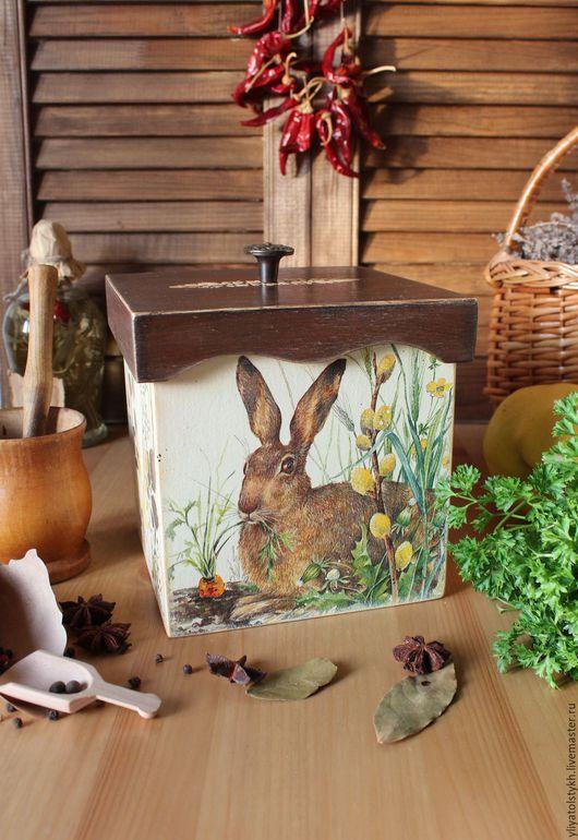 """Кухня ручной работы. Ярмарка Мастеров - ручная работа. Купить Короб для кухни """"Счастливый кролик"""". Handmade. Коричневый, короб, кролик"""