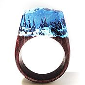 Украшения handmade. Livemaster - original item Wooden ring Enchanted forest. Handmade.