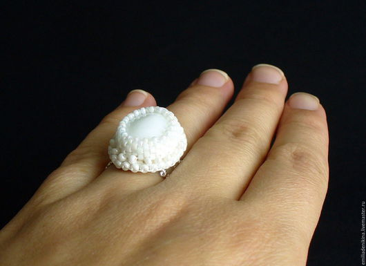 Кольца ручной работы. Ярмарка Мастеров - ручная работа. Купить Кольцо с белым агатом. Handmade. Белый, белое кольцо, с агатом