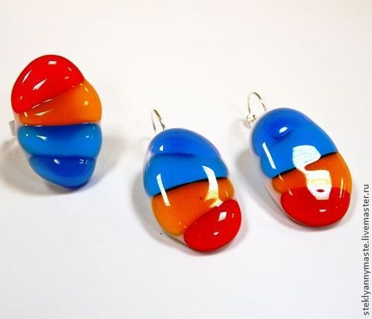 Комплекты украшений ручной работы. Ярмарка Мастеров - ручная работа. Купить фьюзинг кульцо и серьги Переливы радуги, украшение, стекло. Handmade.