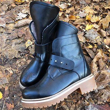 """Обувь ручной работы. Ярмарка Мастеров - ручная работа Ботинки """"Fashion black перфорация"""" беж подошва. Handmade."""